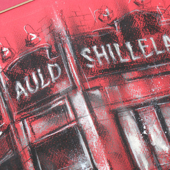 The Auld Shillelagh in Red original chalk drawing detail 01 by Marc Gooderham at Of Cabbages and Kings
