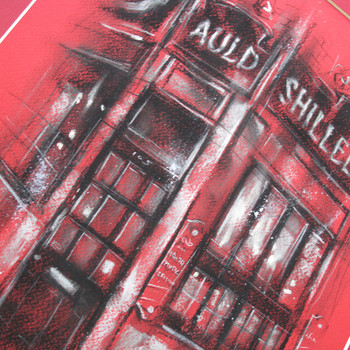 The Auld Shillelagh in Red original chalk drawing detail 02 by Marc Gooderham at Of Cabbages and Kings
