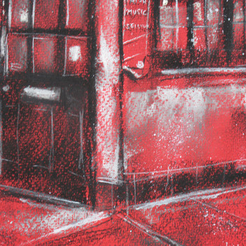 The Auld Shillelagh in Red original chalk drawing detail 03 by Marc Gooderham at Of Cabbages and Kings