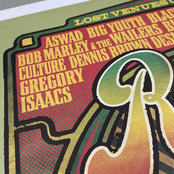 Rainbow Reggae poster print detail 04 by Fiftyseven for 45 Original at Of Cabbages and Kings