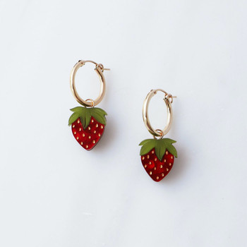 Mini Strawberry Hoops Earrings detail 02 by Wolf and Moon at Of Cabbages and Kings