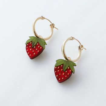 Mini Strawberry Hoops Earrings detail 03 by Wolf and Moon at Of Cabbages and Kings