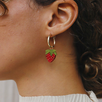 Mini Strawberry Hoops Earrings on model 01 by Wolf and Moon at Of Cabbages and Kings