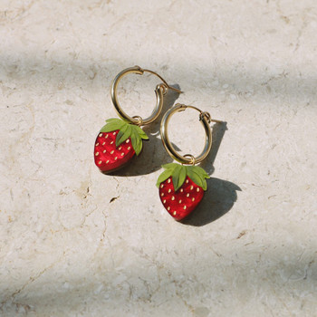 Mini Strawberry Hoops Earrings detail 01 by Wolf and Moon at Of Cabbages and Kings