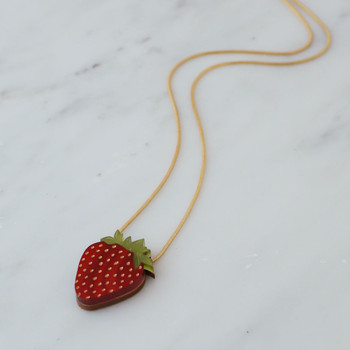 Strawberry Necklace detail 02 by Wolf and Moon at Of Cabbages and Kings