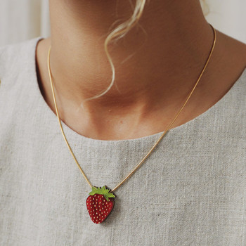 Strawberry Necklace on model 01 by Wolf and Moon at Of Cabbages and Kings