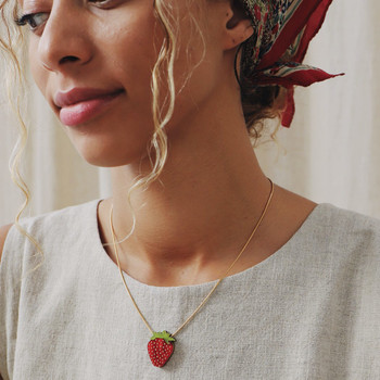 Strawberry Necklace on model 02 by Wolf and Moon at Of Cabbages and Kings