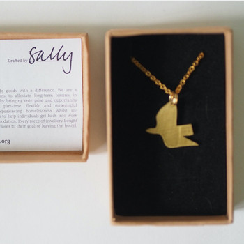 Ella's Dove Necklace - Brass detail by Pivot at Of Cabbages and Kings