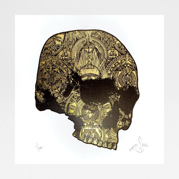 The Golden Skull screen print by Fiftyseven Design available at Of Cabbages and Kings.
