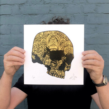 The Golden Skull screen print detail 02 by Fiftyseven Design available at Of Cabbages and Kings.