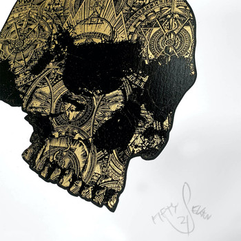 The Golden Skull screen print detail 01 by Fiftyseven Design available at Of Cabbages and Kings.