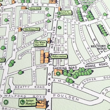 Illustrated Map of Stoke Newington art print streets by Mike Hall at Of Cabbages and Kings
