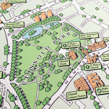 Illustrated Map of Stoke Newington art print Clissold by Mike Hall at Of Cabbages and Kings