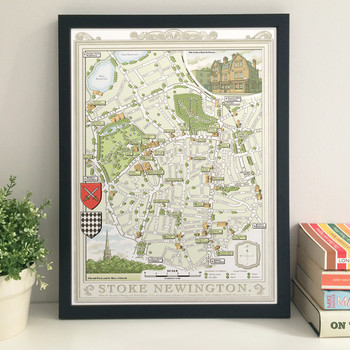 Illustrated Map of Stoke Newington art print framed by Mike Hall at Of Cabbages and Kings