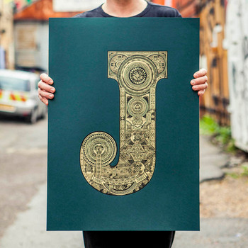 Illustrated J screen print by Fiftyseven Design with artist at Of Cabbages and Kings