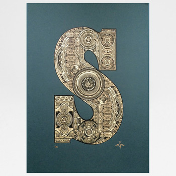 S Illustrated  Letter screen print by Fiftyseven Design at Of Cabbages and Kings