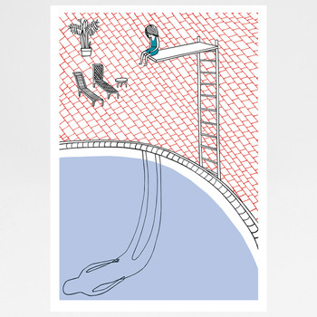 Swimming Pool screen print by Ashley Amery at Of Cabbages and Kings