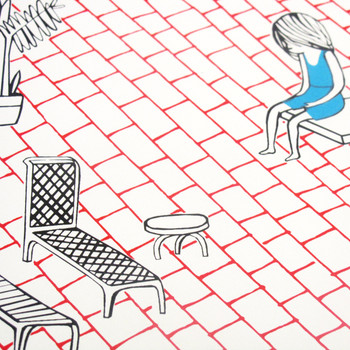 Swimming Pool screen print detail by Ashley Amery at Of Cabbages and Kings