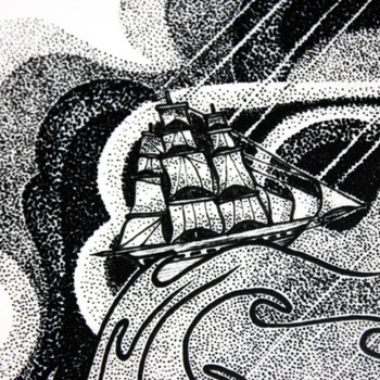 Storm In A Teacup art print ship detail by Tom Berry at Of Cabbages and Kings