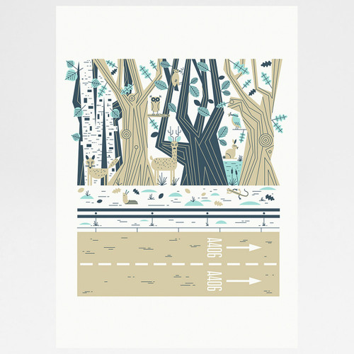 Epping Forest screen print by John Devolle at Of Cabbages and Kings