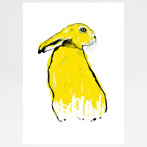 Yellow Hare screen print by Tiff Howick at Of Cabbages and Kings