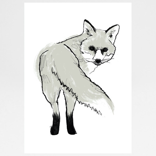 Silver Fox screen print by Tiff Howick at Of Cabbages and Kings.