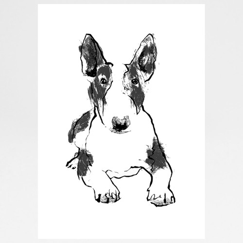 Bull Terrier screen print by Tiff Howick at Of Cabbages and Kings.