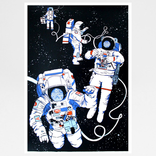 Astronauts screen print by Claudia Borfiga at Of Cabbages and Kings