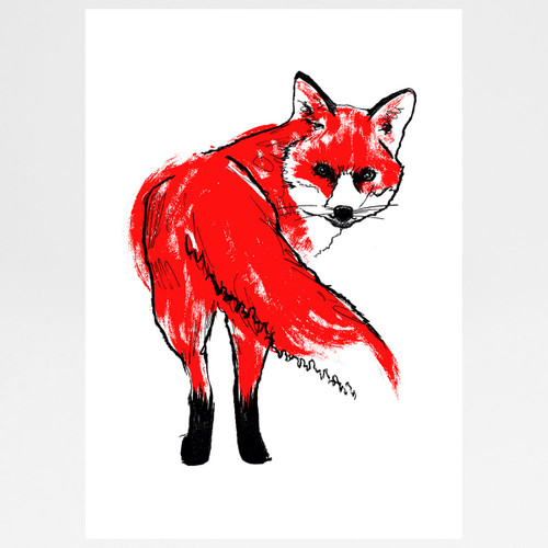 Red Fox screen print by Tiff Howick at Of Cabbages and Kings.
