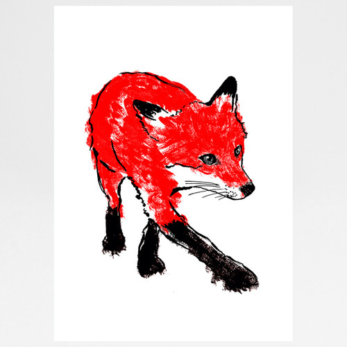 Walking Red Fox screen print by Tiff Howick at Of Cabbages and Kings.