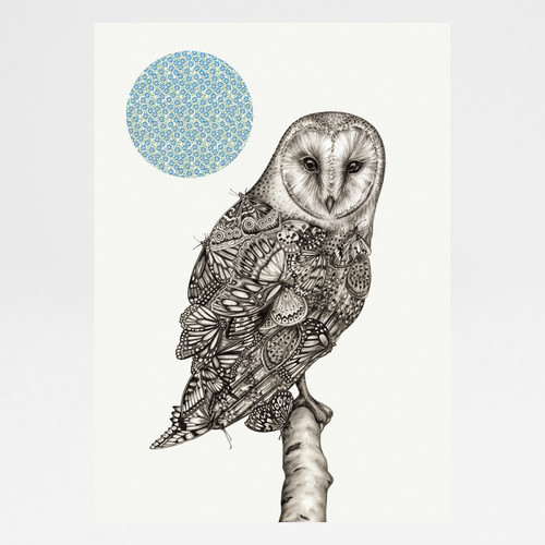 The Owl And The Butterfly art print by Lauren Mortimer at Of Cabbages and Kings.