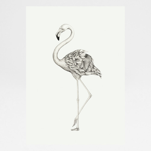 Flora Flamingo art print by Lauren Mortimer at Of Cabbages and Kings