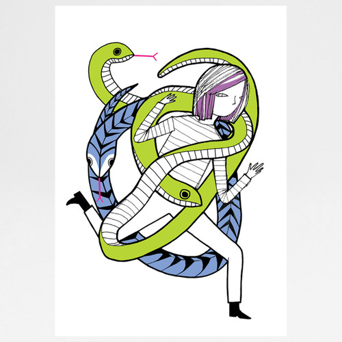 Two-Headed Snake screen print by Ashley Amery at Of Cabbages and Kings