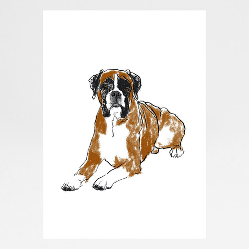 Boxer screen print by Tiff Howick at Of Cabbages and Kings.