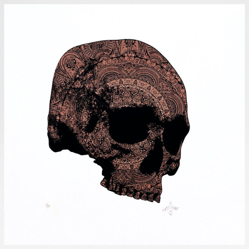 Bronze Skull screen print by Fiftyseven Design at Of Cabbages and Kings.