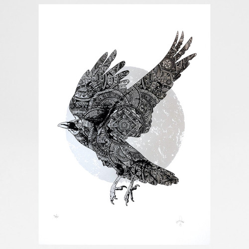 Crow of Winter: White screen print by Fiftyseven Design at Of Cabbages and Kings.