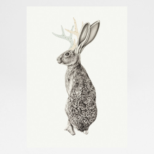 Jackalope art print by Lauren Mortimer available at Of Cabbages and Kings.