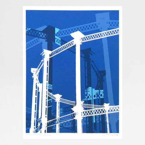 Kings Cross Gasholder Blue art print by Jo Angell at Of Cabbages and Kings.