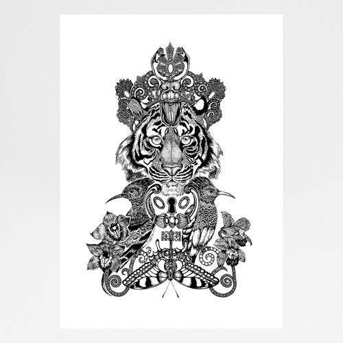 The Royal Tiger art print by Emily Carter at Of Cabbages and Kings.