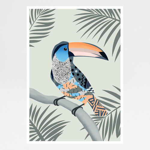 A Toucan Sitting on a Branch Contemplating Life art print by Adam Bartlett available at Of Cabbages and Kings.