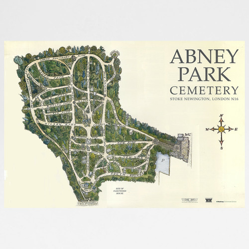 Abney Park Cemetery Map by John Gosler available at Of Cabbages & Kings.