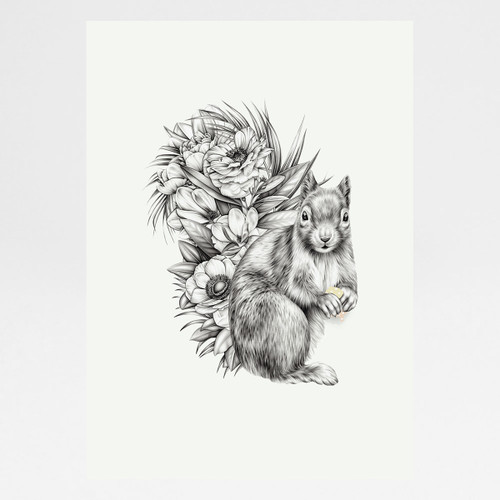 Nuts About Squirrels art print by Lauren Mortimer available at Of Cabbages and Kings.