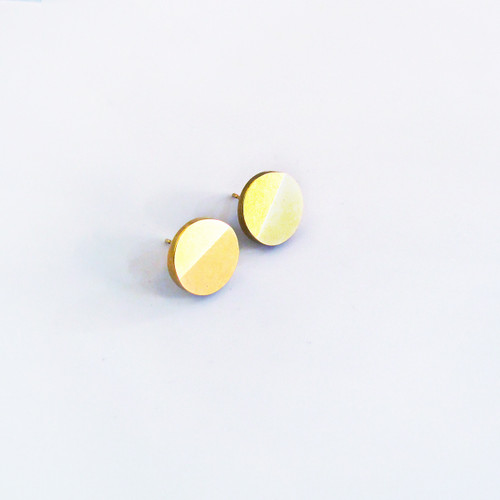 Gold plated solid silver Disc earrings from the Béton range by Tom Pigeon, available at Of Cabbages & Kings.