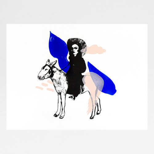 Yves Klein Blue: Girl on a Donkey screen print by Marcelina Amelia at Of Cabbages and Kings