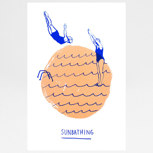 Sunbathing screen print by Marcelina Amelia at Of Cabbages and Kings