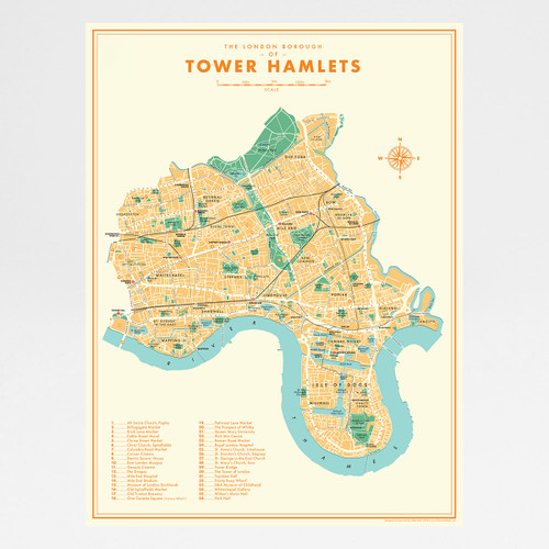 Tower Hamlets Retro Map art print by Mike Hall at Of Cabbages and Kings.