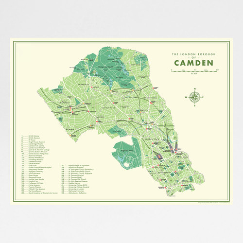 Camden Retro Map art print by Mike Hall at Of Cabbages and Kings