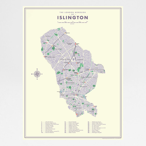 Islington Retro Map art print by Mike Hall at Of Cabbages and Kings.