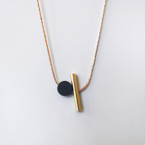 Cylinder + Disc Necklace by Brass & Bold at Of Cabbages and Kings