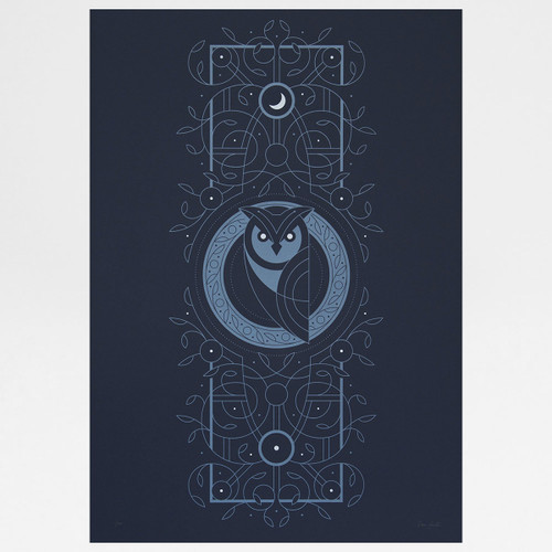 Night Owl screen print by The Lost Fox available at Of Cabbages and Kings.